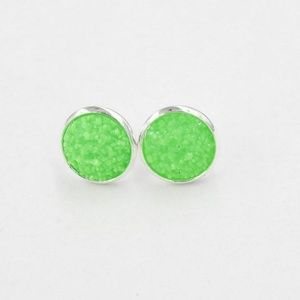 Lakeview Apparel Jewelry - Round Druzy Crystal Silver Green Stud Earrings